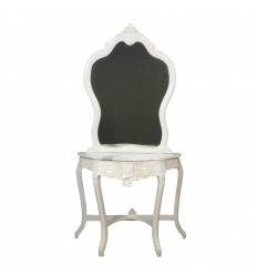Weiße Barockkonsole mit Spiegel