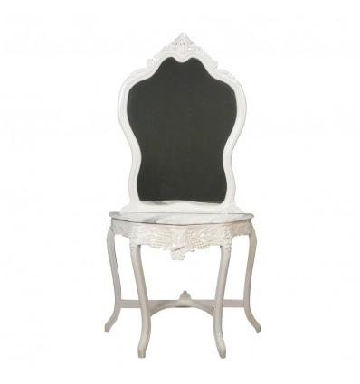 Consola barroca blanca con espejo.