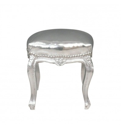Baroque silver pouf - Baroque lounge furniture -
