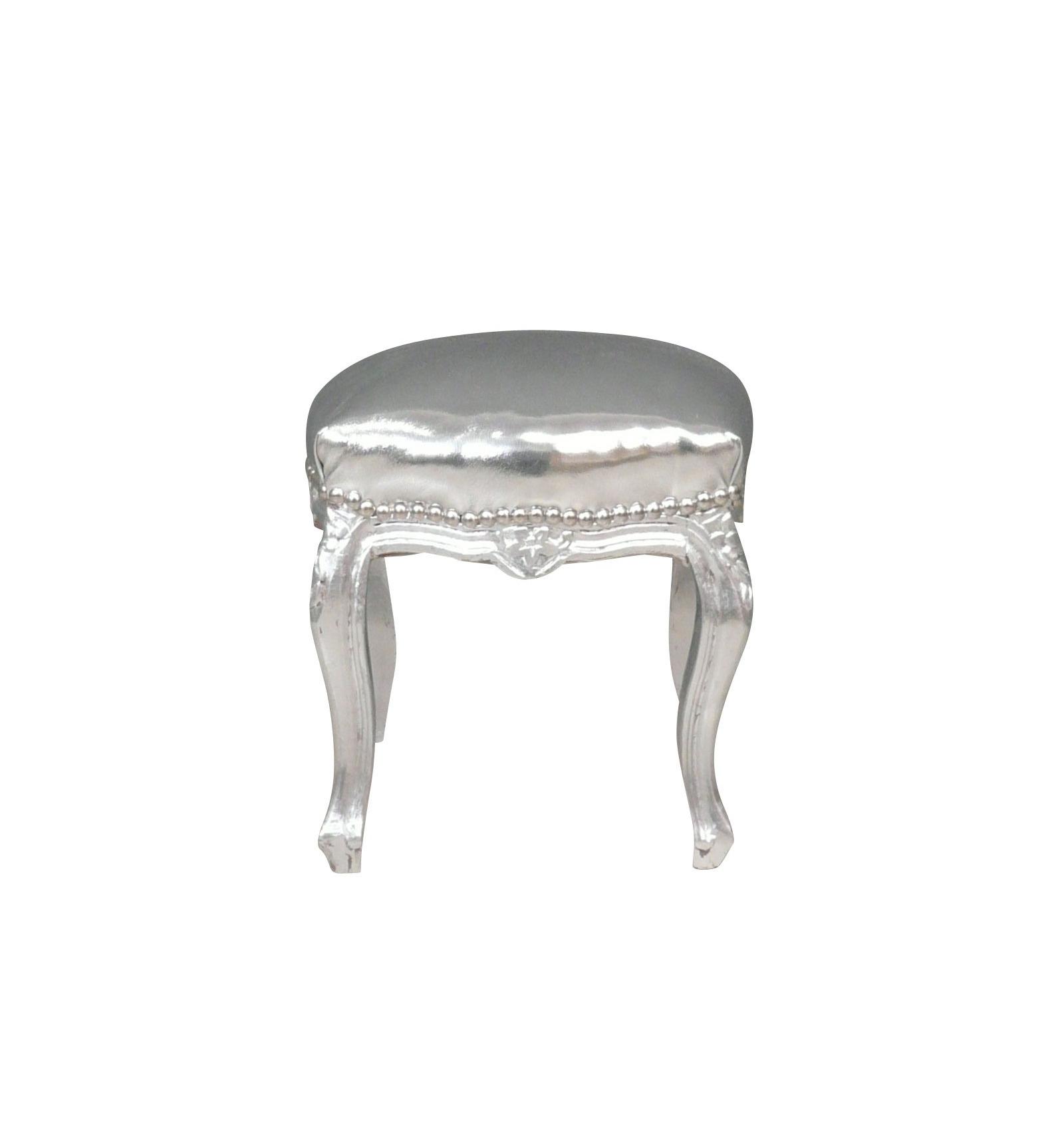 pouf baroque argent mobilier de salon baroques. Black Bedroom Furniture Sets. Home Design Ideas