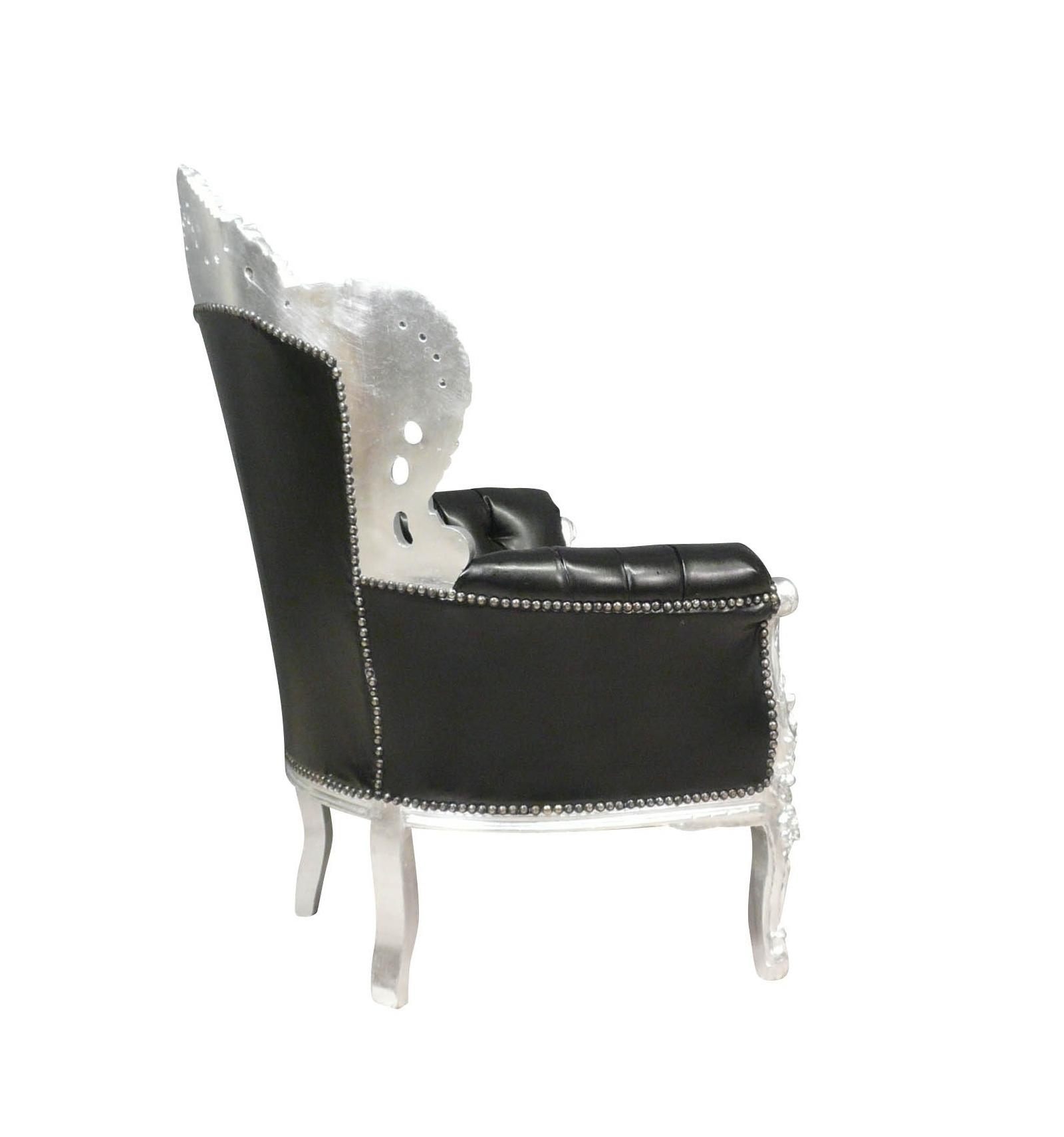 schwarz und silber barock sessel royal. Black Bedroom Furniture Sets. Home Design Ideas