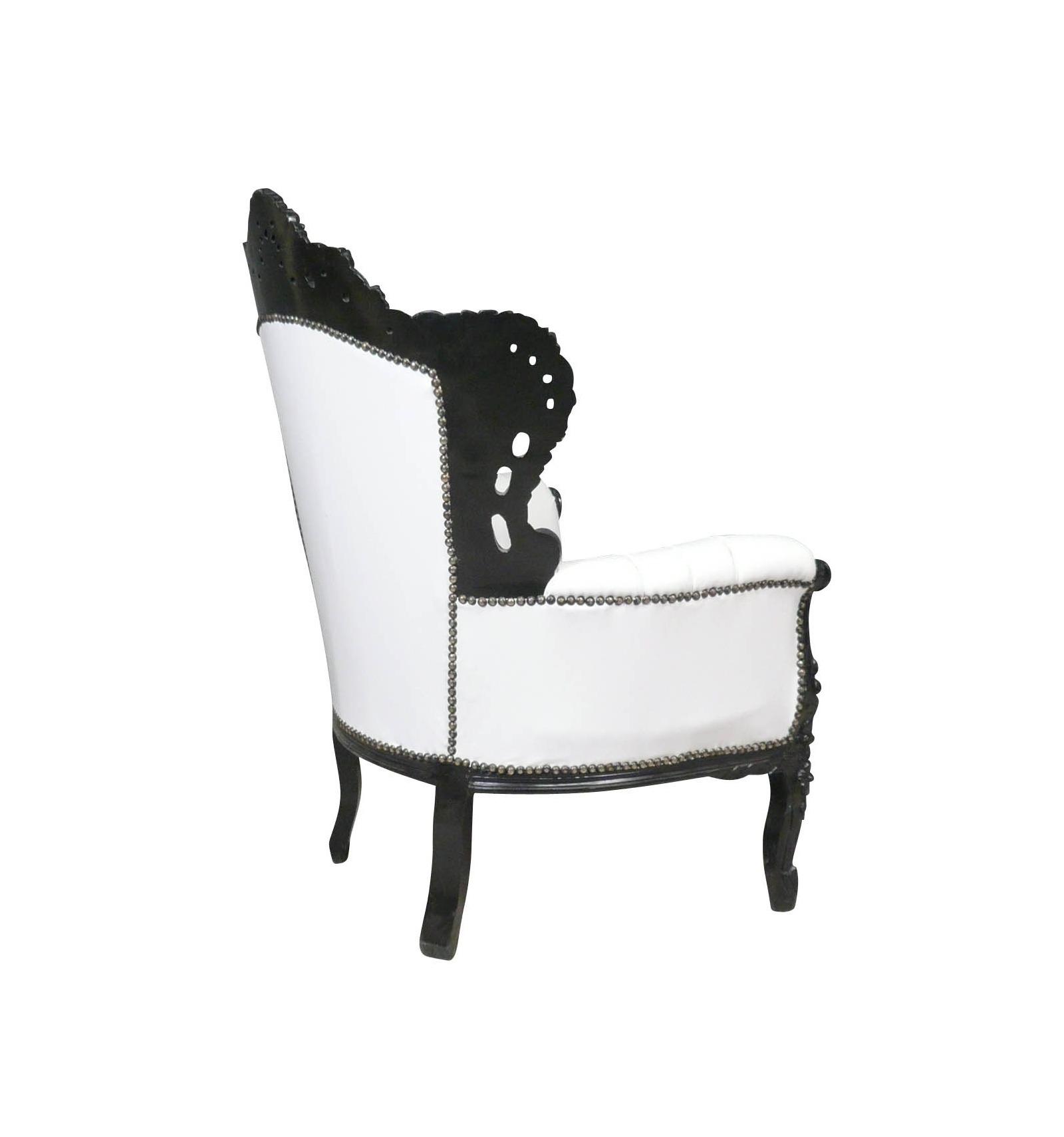 Fauteuil baroque blanc et noir meubles louis xv - Fauteuil noir et blanc ...