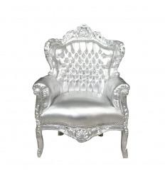 Fauteuil argent style baroque - Meuble de salon argenté
