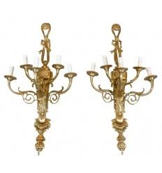 Par de arandelas de bronze, estilo Luís XVI