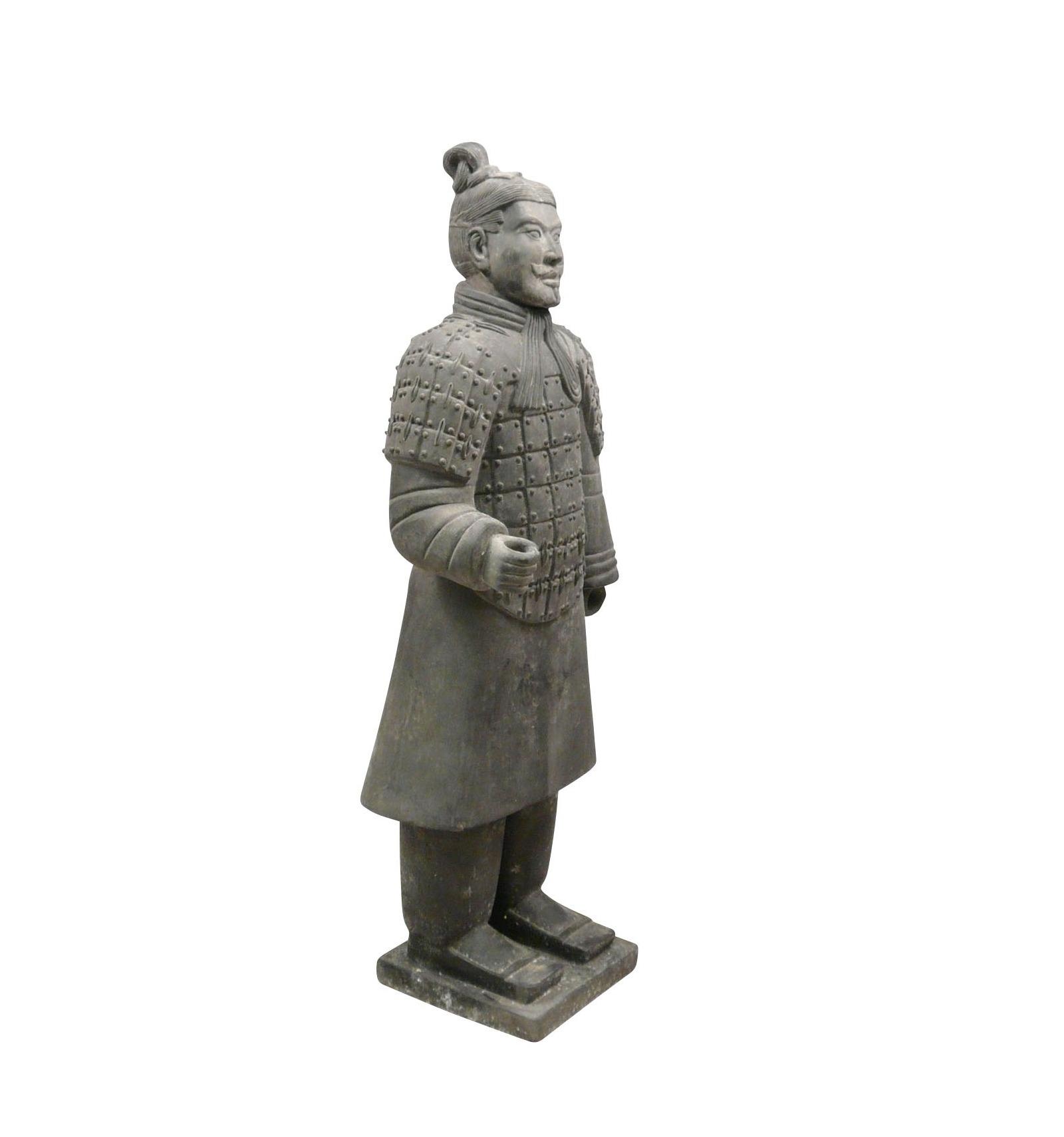 Statue guerrier chinois fantassin 120 cm soldats xian - Statue de jardin belgique ...