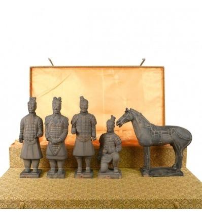 Set di 5 statuette - guerrieri di Xian di 20cm - statua cinese -