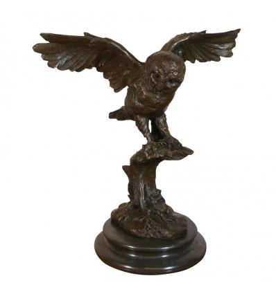 Bronsstaty av en uggla - skulpturer och art deco-möbler -