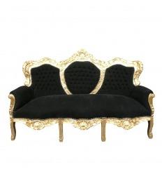 Barockes Sofa in Schwarz und Gold