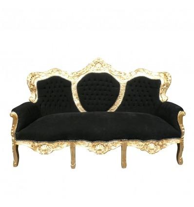Canapé baroque noir et bois doré