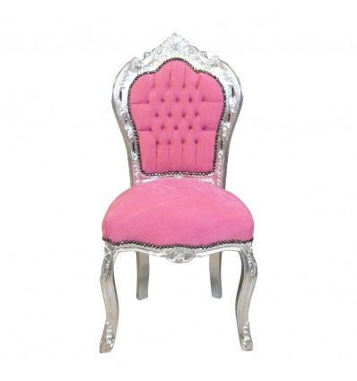 Baroque chair pink and silver