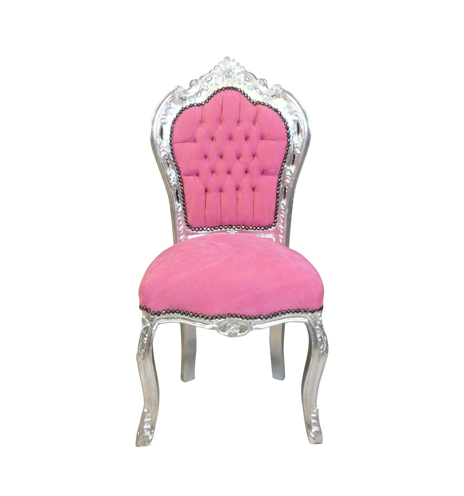 chaise baroque rose et argent fauteuil et meubles de style. Black Bedroom Furniture Sets. Home Design Ideas