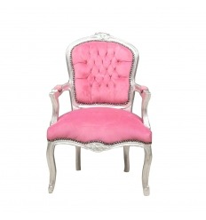 Armchair Louis XV pink and wood silver