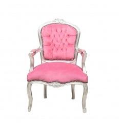 Fauteuil Louis XV rose et bois argenté