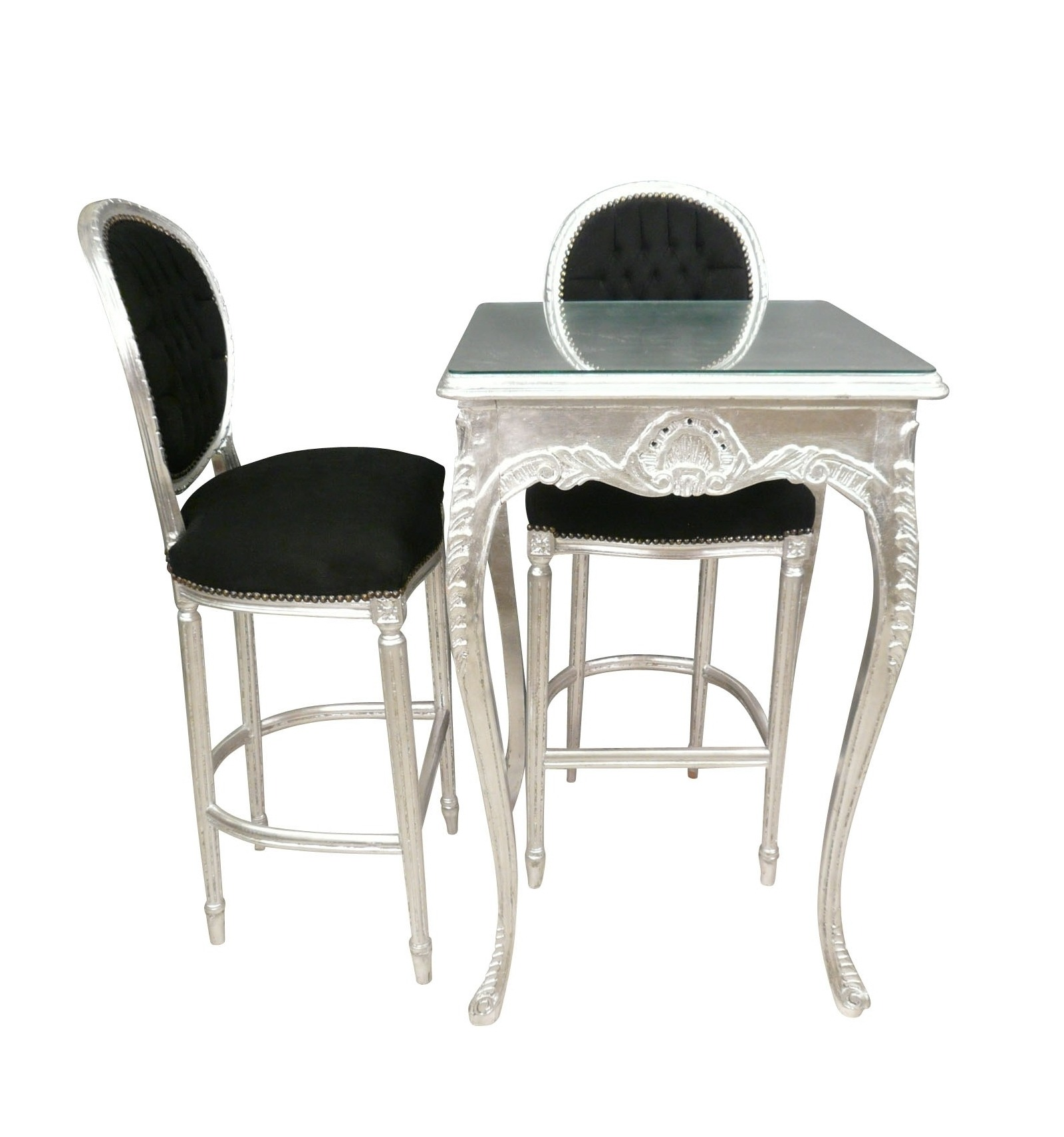 table baroque de bar argent e fauteuils et chaises. Black Bedroom Furniture Sets. Home Design Ideas