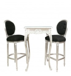 Table baroque de bar argent