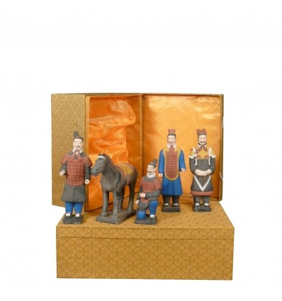 Set of 5 statuettes - Xian Warriors 25 cm