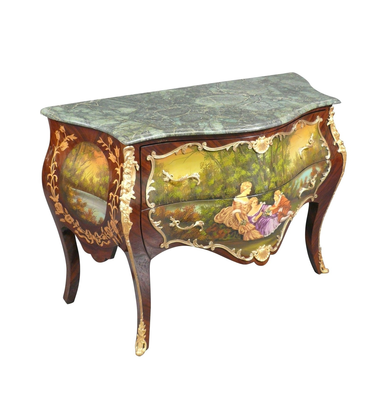 louis xv commode with a scene galante painted. Black Bedroom Furniture Sets. Home Design Ideas