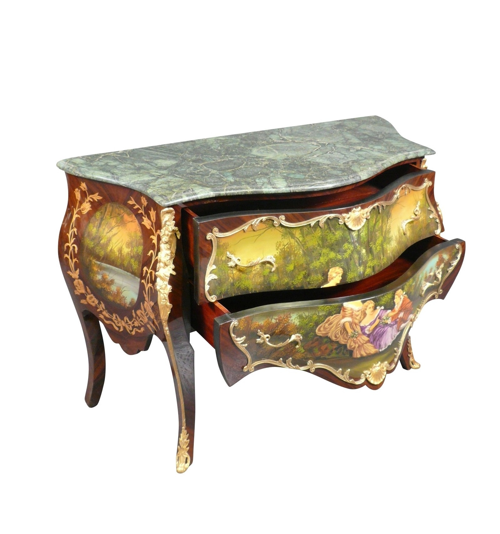 Louis Xv Commode With A Courtly Scene