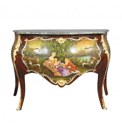 Louis XV commode with a painted gallant scene -