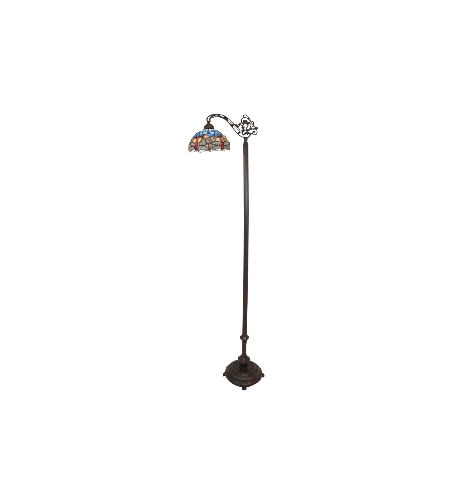 Floor lamp tiffany the dragonflies in the shape of a bell for Lampadaire style shabby