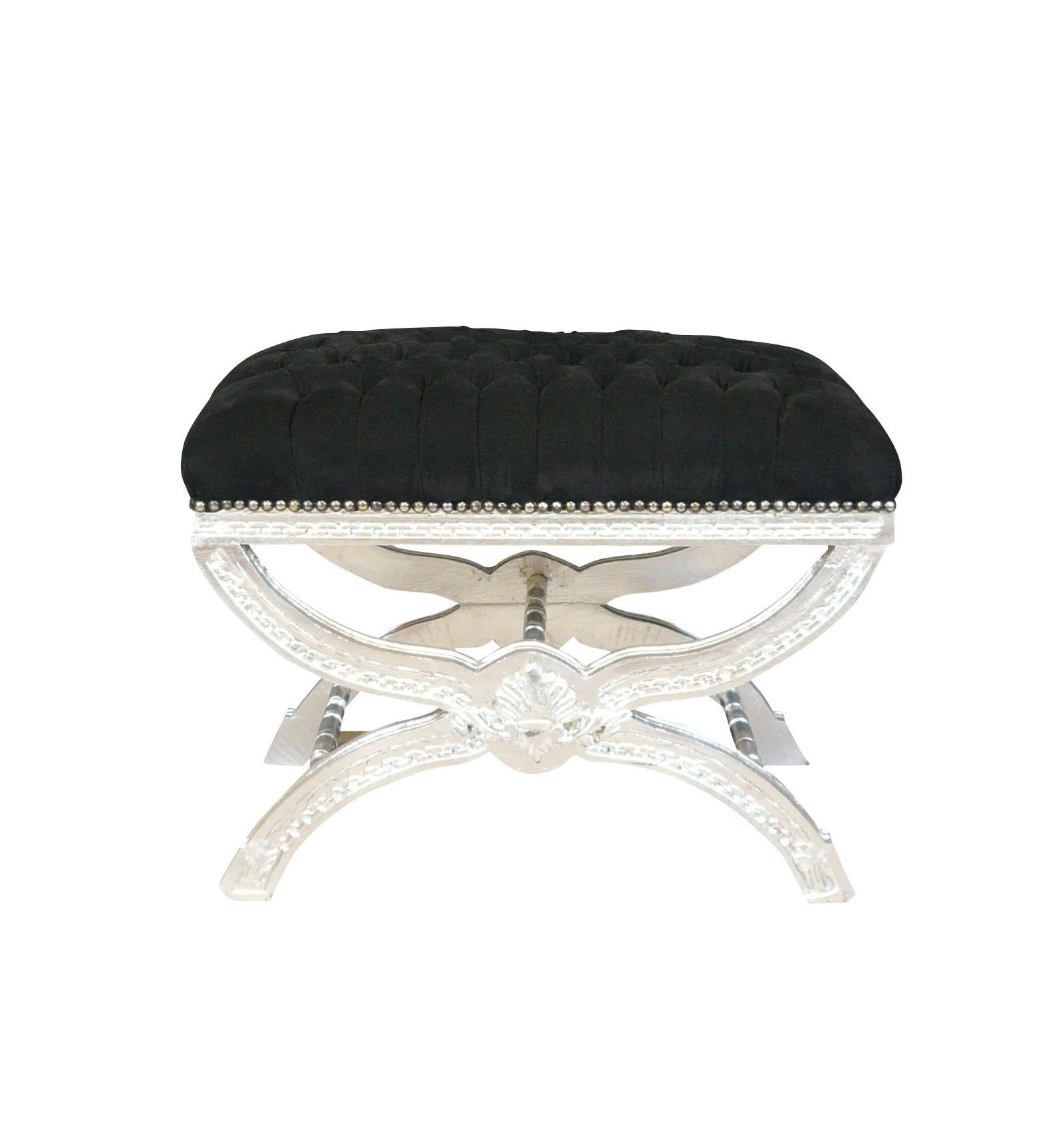 banquette baroque noire et bois argent meubles de style baroque. Black Bedroom Furniture Sets. Home Design Ideas