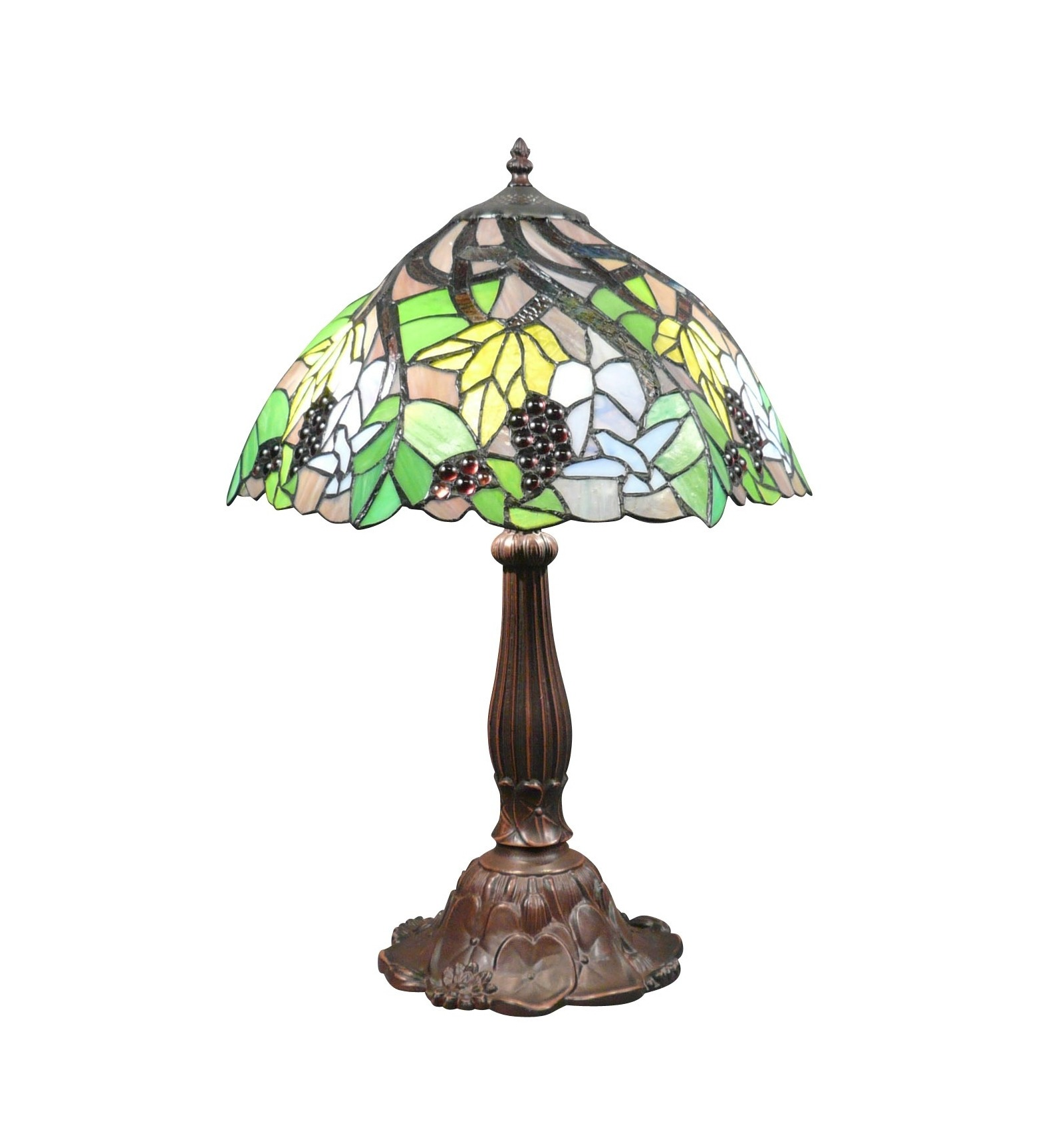 lampe tiffany avec des feuilles de vignes et des raisins. Black Bedroom Furniture Sets. Home Design Ideas