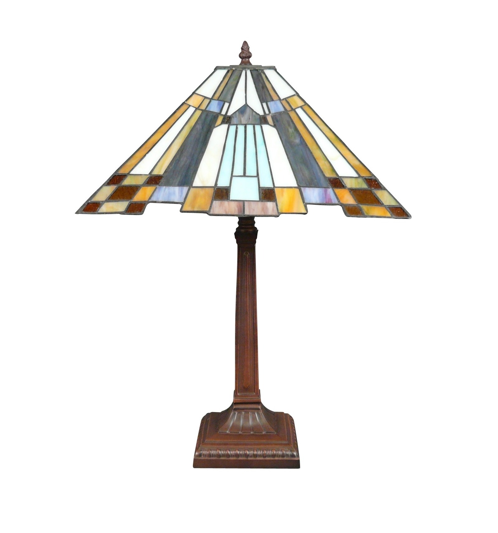 New York Blue Art Deco Tiffany Lamp With Patinated Bronze Metal Foot