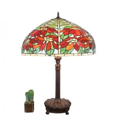 Lampada Tiffany a poinsettias - lampade e mobili art deco