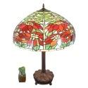Lampe Tiffany aux poinsettias avec un verre en vitrail