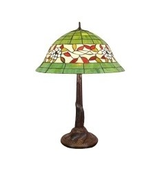 Tiffany lamp stained glass white and red green