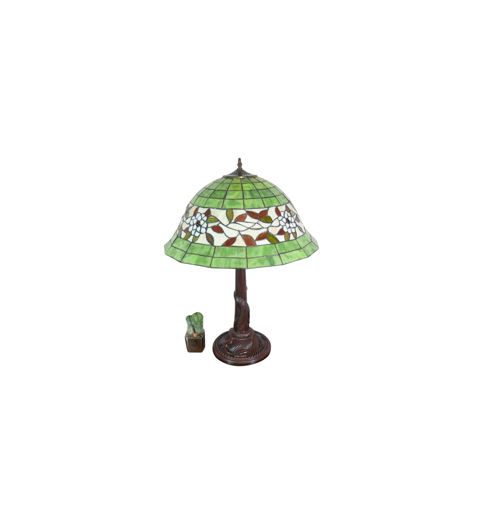lampe tiffany au fond blanc et vert art deco. Black Bedroom Furniture Sets. Home Design Ideas