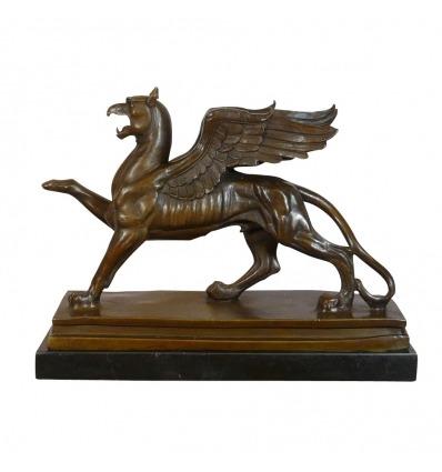 Bronsstaty-den Griiffon-legendariska Bronsskulpturen -