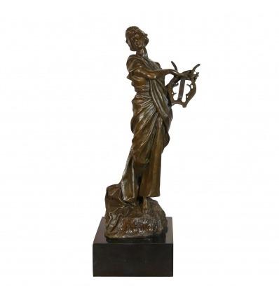 Statue en bronze - La Muse à la lyre - Sculptures grecque en bronze -