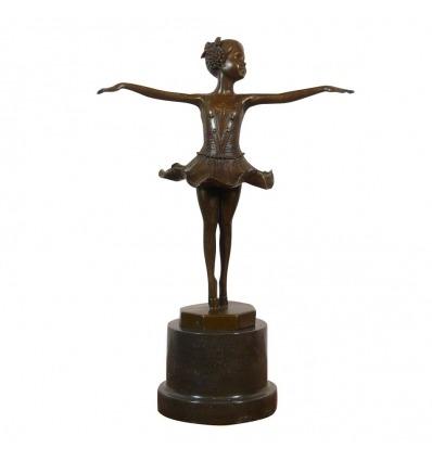Statue en bronze d'une Jeune danseuse sur les pointes - Bronze -