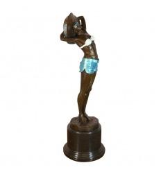 Escultura art deco en bronce - Mujer en traje de baño.