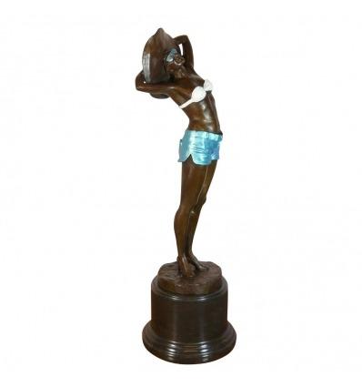 Escultura Art Deco en bronce - Mujer en traje de baño azul.