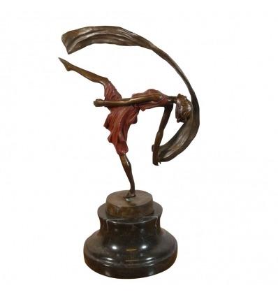 Estatua de bronce de una bailarina. Escultura art deco -