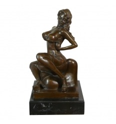 Statue en bronze érotique d'une femme nue