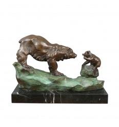 Statue en bronze - L'ours et son ourson