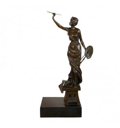 Statua di bronzo - La donna del pittore. La scultura dell'artista -