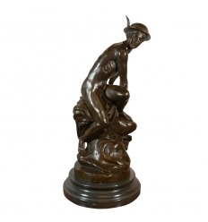 Mercury tying his talonnières - bronze Statue