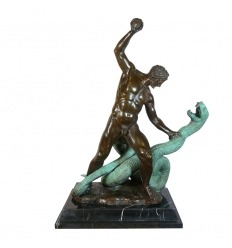 Eracle lotta contro Acheloo - statua in bronzo