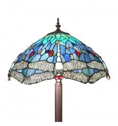 Lampadaire Tiffany avec un décor de libellules - Lampe de sol en vitrail de verre
