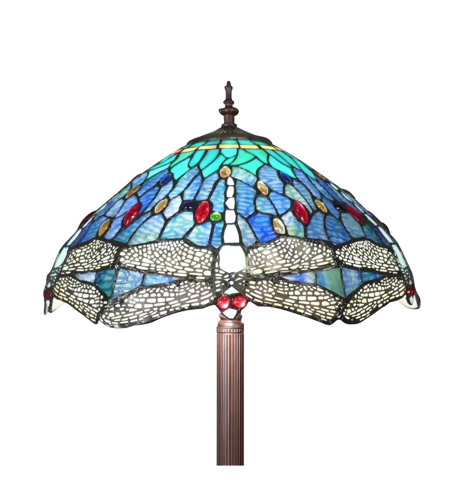 Tiffany Floor Lamp With A Decoration Of Dragonflies Art Deco Lighting