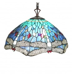 Tiffany style chandelier with dragonflies