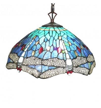 Tiffany style pendant lamp with dragonflies