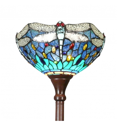 Lámpara de pie Tiffany libélulas azul y verde - Lamparas Tiffany baratas