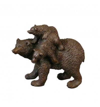 Statue en bronze - L'ours et ses oursons - Sculptures d'animaux -