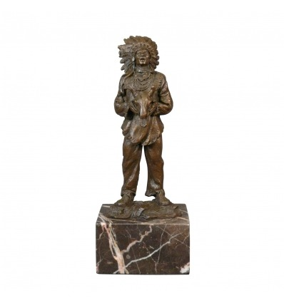 Bronze statue of an American Indian - Sculpture - Art deco furniture -