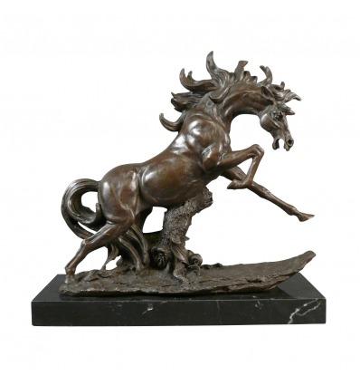 Bronz - szobor lovas és állati ló -